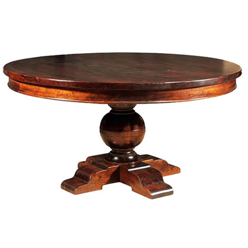 Home trends and design colonial plantation round dining table for Solid wood round tables dining