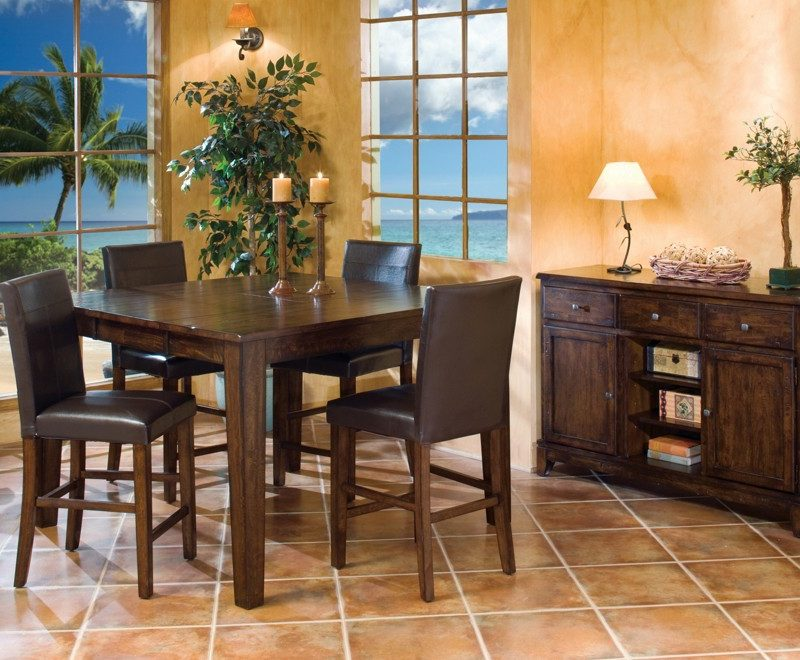 The Kona Gathering Table with Parson's Barstool and Kona Wine Server.