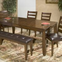 Kona Extension Table with Ladderback Side Chair and Bench
