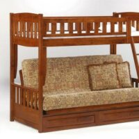 New Energy Twin over Futon Bunk Bed in Cherry finish