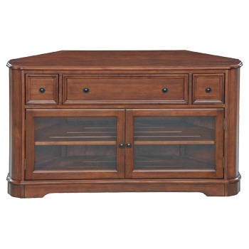 The mckenzie corner media cabinet in glazed antique cherry for Furniture in the raw