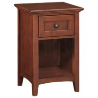 Whittier Wood McKenzie Small 1 Drawer Nightstand in Glazed Antique Cherry