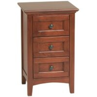 Whittier Wood McKenzie Small 3 Drawer Nightstand in Glazed Antique Cherry