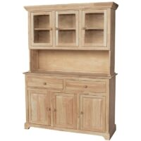 Traditional Wood Buffet and Hutch 3 Doors