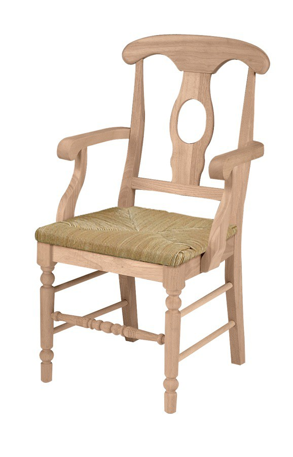 Whitewood empire arm chair with rush seat furniture in for Furniture in the raw