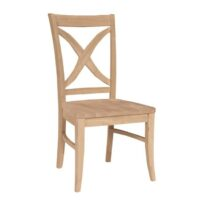 The unfinished Whitewood Vineyard Side Chair with wood seat