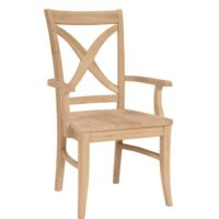 Unfinished Whitewood Vineyard Side Chair with wood seat and arms option