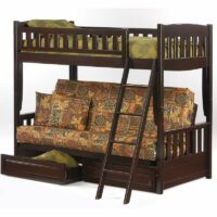 Cinnamon Futon Bunk Bed drawers Dark Chocolate finish