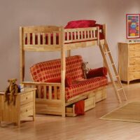 Cinnamon Futon Bunk Bed in Natural finish