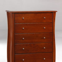 Clove 5 Drawer Dresser Cherry (Metal Knobs)