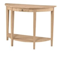 Whitewood Half Round Console Table