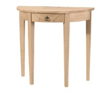 Whitewood Half Round Table with Drawer