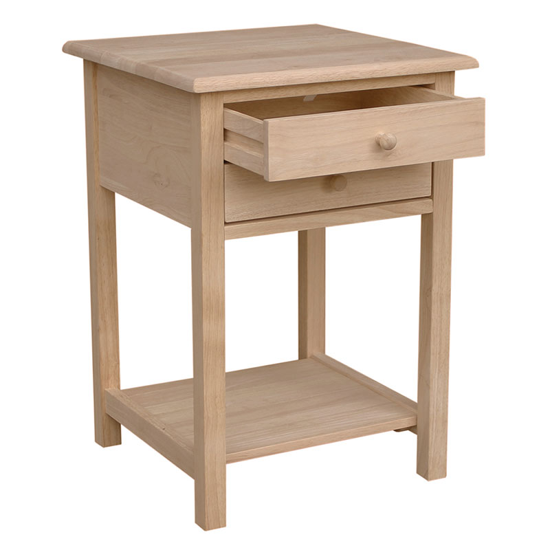 The Whitewood Lamp Table Has 2 Small Drawers And Lower Shelf