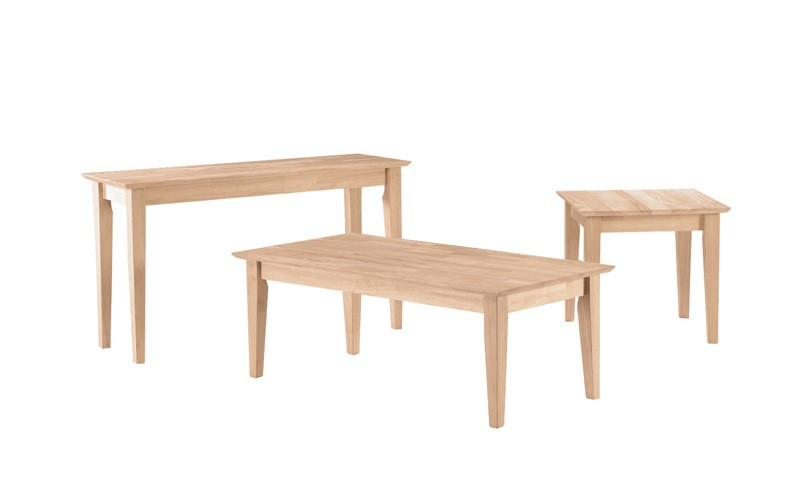 Whitewood Shaker Table Collection.