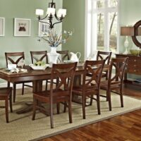 John Thomas Cosmopolitan Milano Double Pedestal Table and Vineyard Side Chairs.