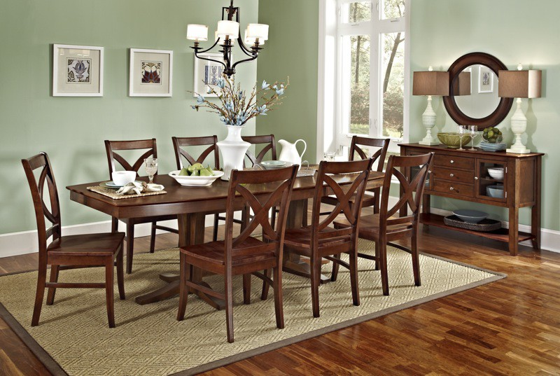 John Thomas Cosmopolitan Milano Double Pedestal Table And Vineyard Side Chairs