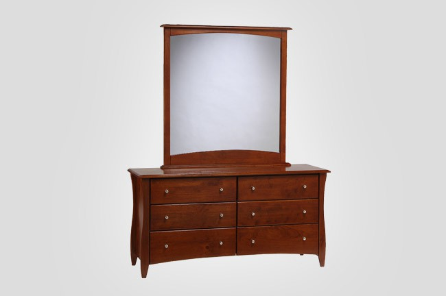 The New Energy Clove Dresser in Cherry with optional Mirror.