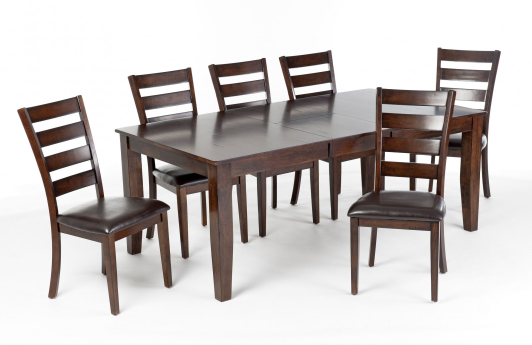 Kona Extension Dining Table Set with 6 ladder back chairs