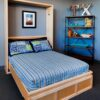 Contemporary Murphy Bed with maple wood natural finish