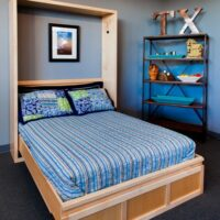 Contemporary Murphy Bed with maple wood and natural finis
