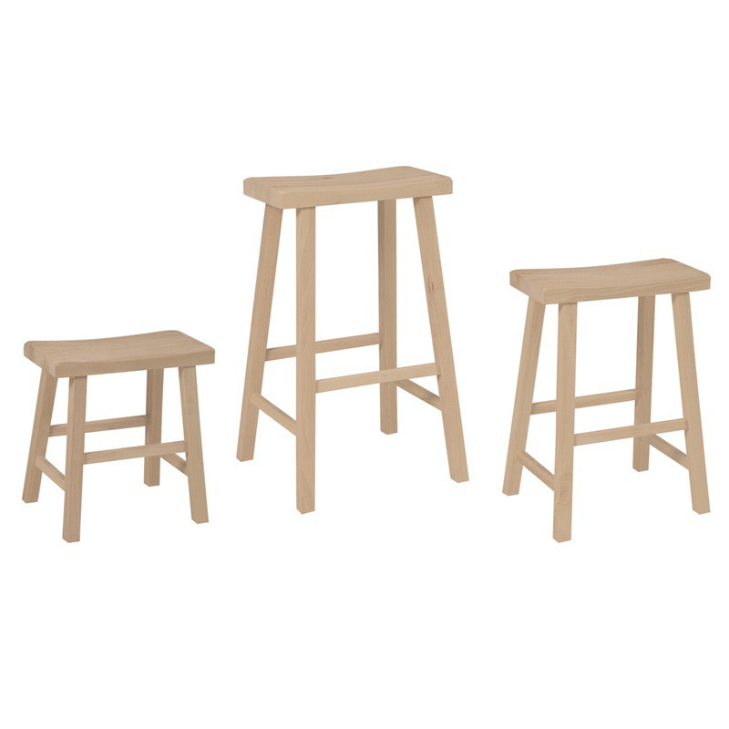 Saddle Seat Wood Stool Collection