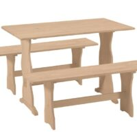 Whitewood Trestle Table and Bench