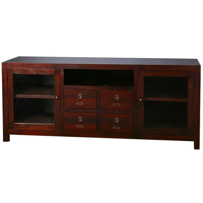 Archbold All Wood Accents Media Center 65 Inches Wide Cherry Espresso Stain