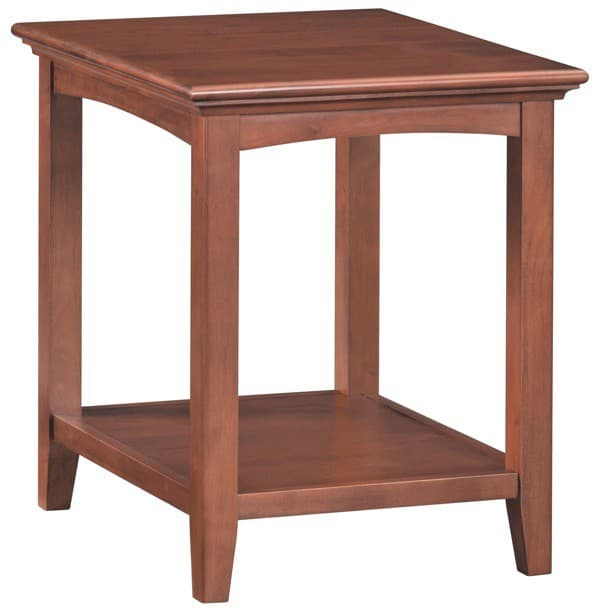Whittier wood mckenzie side table in glazed antique cherry for Furniture in the raw