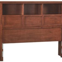 Whittier Wood McKenzie Bookcase Headboard in Glazed Antique Cherry, full size.