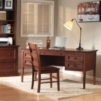 Whittier Wood McKenzie Desk with 4 drawers in Glazed Antique Cherry