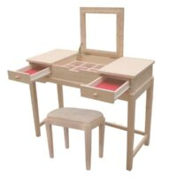 Whitewood Deluxe Vanity Table with option Vanity Bench