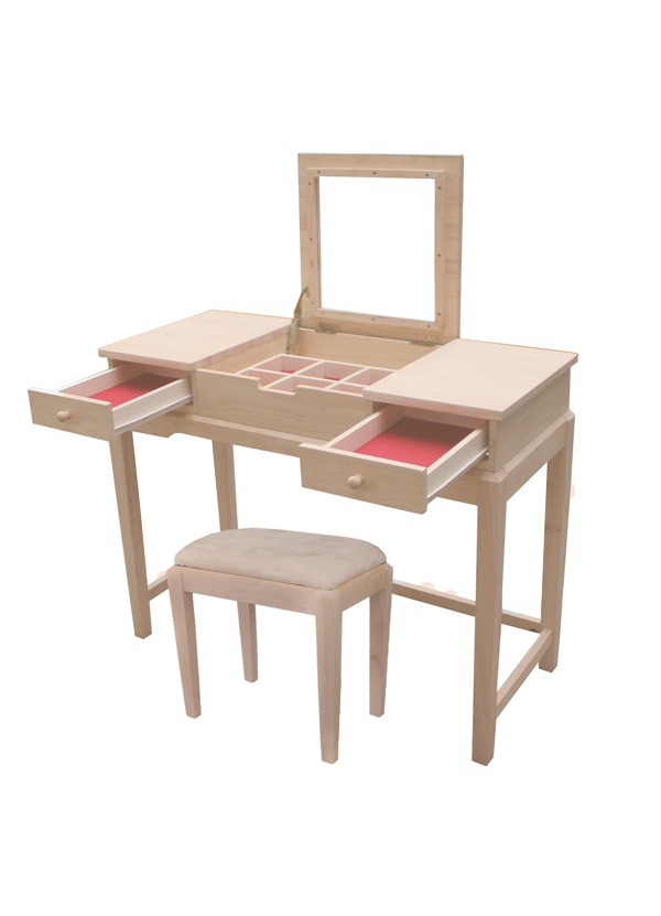 Unfinished Furniture San Antonio Whitewood Deluxe Vanity Table with option Vanity Bench