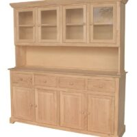 Whitewood Buffet and Hutch – 4 drawers and 4 doors.