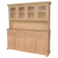 Traditional Wood Buffet and Hutch 4 Doors