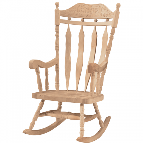 Whitewood Carved Back Cannonball Rocker