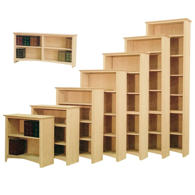 Furniture in the Raw Shaker Full Wrap Wood Bookcases