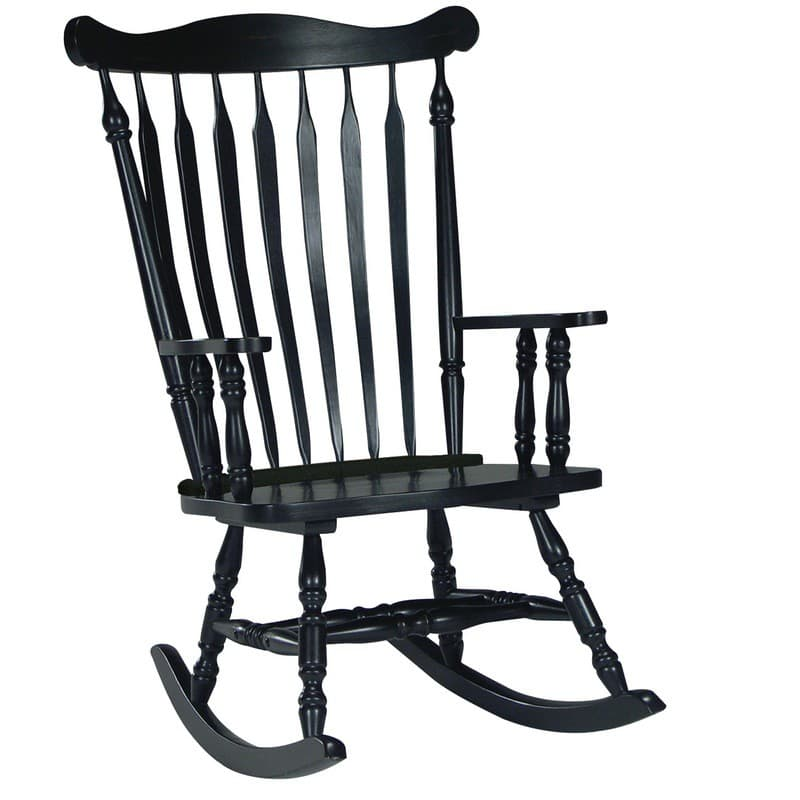 Superbe Williamsburg Colonial Rocking Chair In Antique Black Paint ...