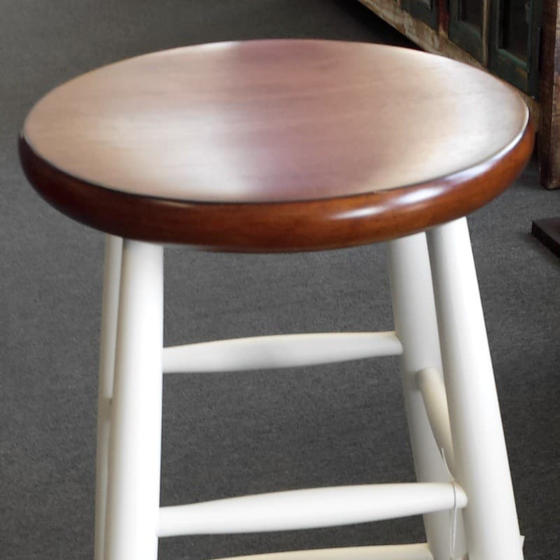 Two Tone Scoop Seat Wood Stool