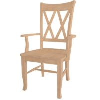 Double X Side Arm Chair with wood seat