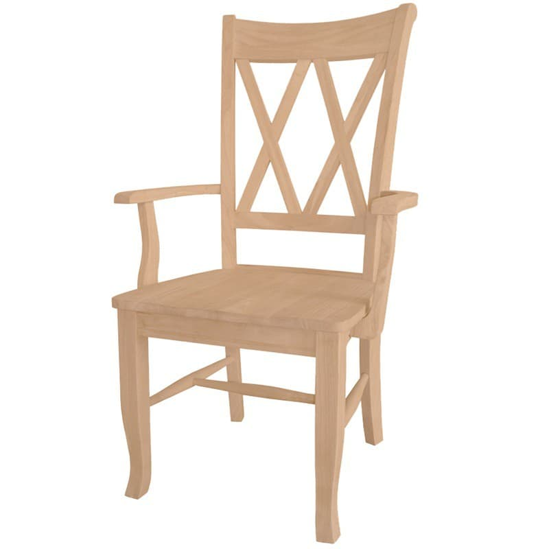 Superieur Double X Side Arm Chair With Wood Seat