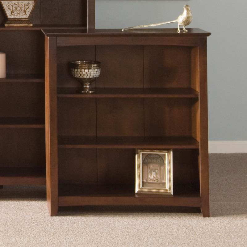 Arch Top Espresso Shaker Wood Bookcases Are Made With