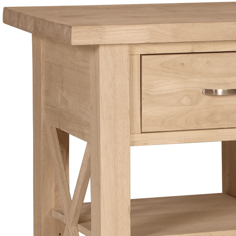 X Side Rolling Kitchen Island With Butcher Block Top