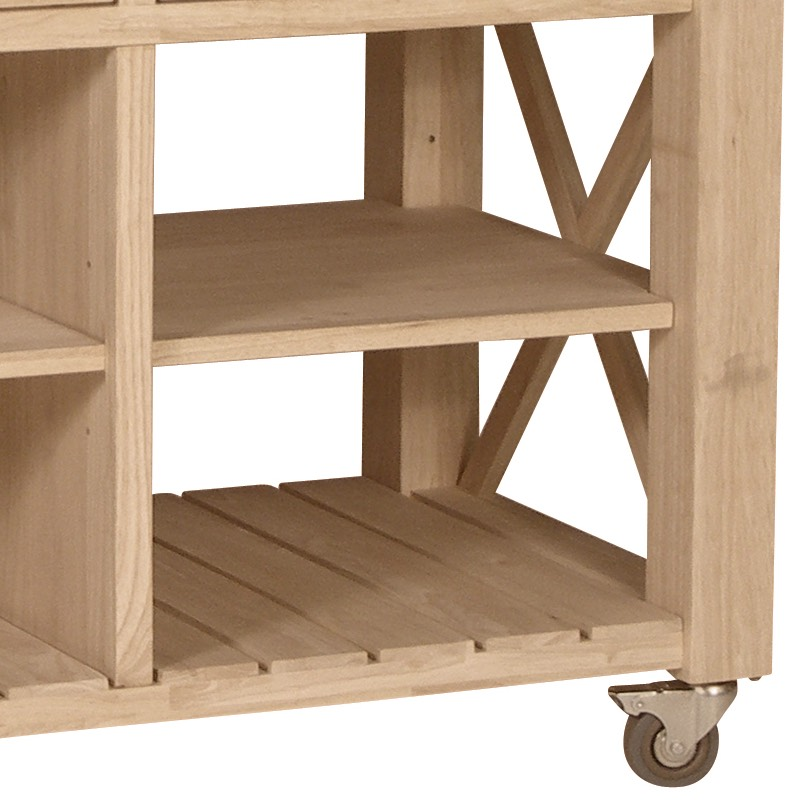 Butcher Block Rolling Kitchen Island : X Side Rolling Kitchen Island with Butcher Block Top