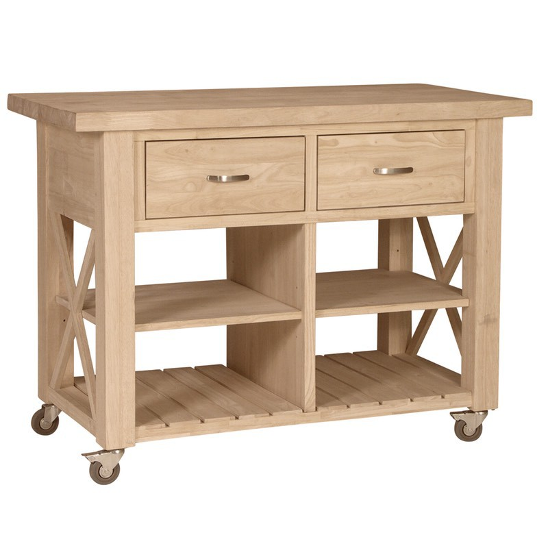 X Side Rolling Kitchen Island with Butcher Block Top : WC 12 05 from www.furnitureintherawtx.com size 800 x 800 jpeg 71kB
