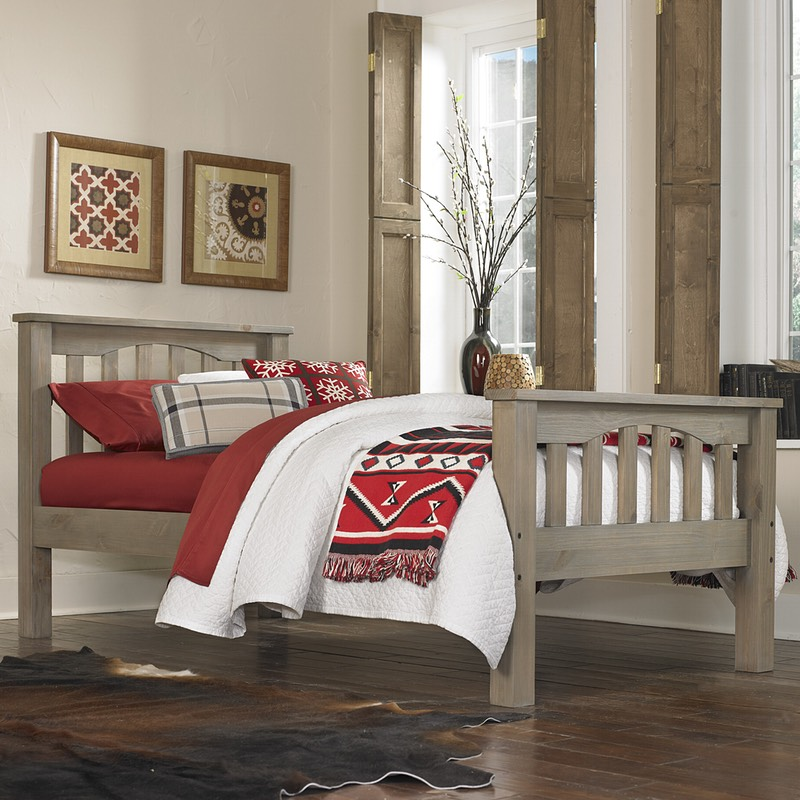 Twin size Highlands Harper Bed with Driftwood finish