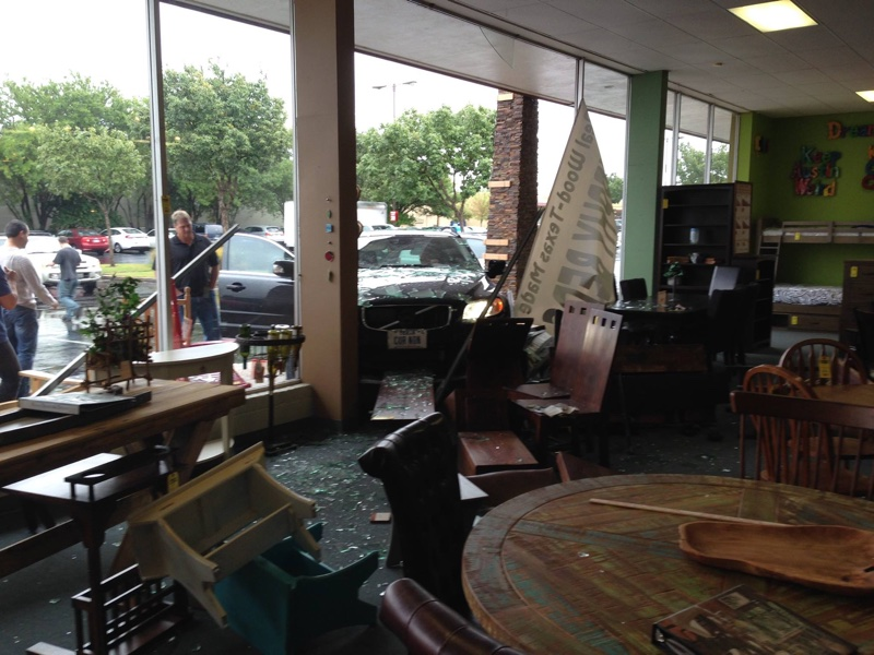 Elderly driver crashes through Furniture in the Raw showroom