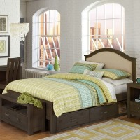 Full size Highlands Bailey Upholstered Panel Bed in Espresso