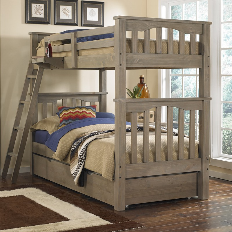 Highlands Harper Bunk Bed With Trundle In Driftwood Finish