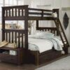 Highlands Harper Bunk Bed with drawers in Espresso finish. Twin/fulll bottom