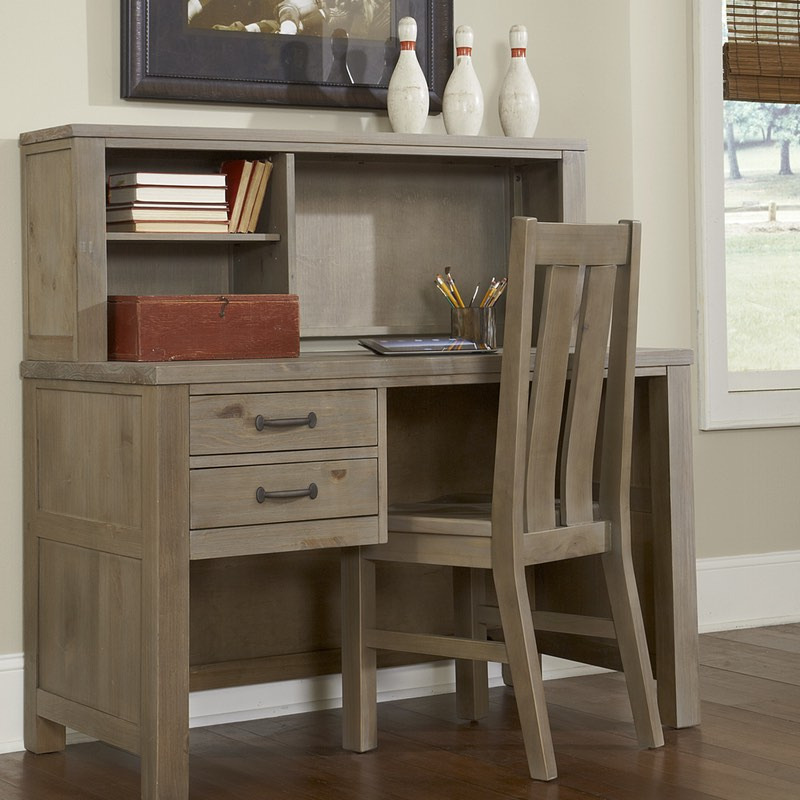 Highlands Desk And Hutch In Driftwood